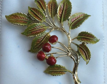 Lovely Vintage 1960s EXQUISITE Cherry Tree Series Brooch
