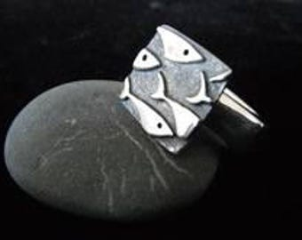 Fish Ring - mens or womans Triangle Design