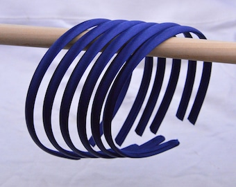 headbands, satin headbands, hair hoop, hair bands,  Satin wrapped headband, Silk covered plastic headband, Wholesale headbands Ink blue 10mm