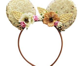 Mouse Ear Headband - Sequin Ear Headband - Boho Chic Headband - Infant Headband - Toddler Headband - Mouse Ears- Vintage Flower Headband