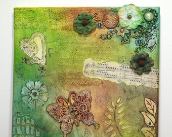 LOVE MUSIC & NATURE Bohemian Mixed Media Canvas - Hearts Flowers Butterflies Boho Hippie Chic Indie Art Wall Hanging Home Decor