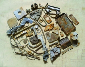 50 Rusty Metal Pieces - Found Objects for Assemblage, Jewelry or Altered Art - Salvaged Supplies - Industrial Salvage