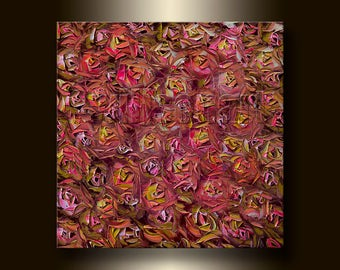 Roses Floral Original Painting Textured Palette Knife Oil on Canvas Contemporary Modern Art 20X20 by Willson Lau