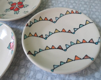 Handmade Snack Plate Wheel Thrown Pottery Bunting Pattern Illustration Cute Small Plate Small Dessert Plate Pennant Pattern