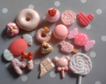 Sale--kawaii pink sweets cabochon decoden phone deco diy charm mix 15 pcs  # 453---USA seller