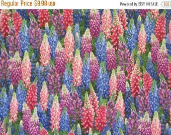 ON SALE Beautiful Packed Larkspur Blossoms Print Pure Cotton Fabric--By the Yard