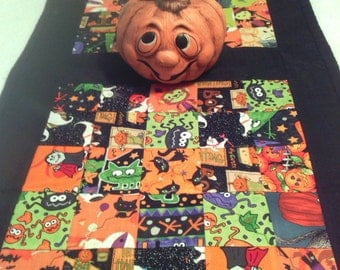 "FALL SALE:   Halloween Reversible Patchwork Machine Quilted Fabric Table Runner (35"" by 18"")"
