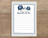 Advice For The Parents to Be Cards, Navy Elephant Grey Chevron Baby Shower Activity, Baby Boy Shower Game, DIY Printable, INSTANT DOWNLOAD