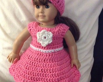 Doll dress and hat set pink rose white accent flower doll clothes
