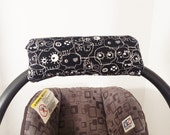 Infant Car Seat ARM PAD, Handle Cover Wrap, Reversible - Skulls Black and White