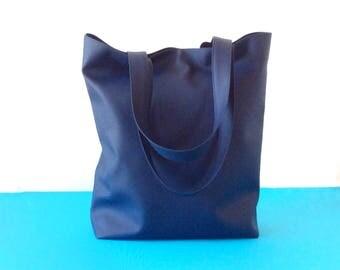 Blue tote bag personalized, vegan leather tote bag with pockets, shopper bag leather tote bag, large tote bag, eco bag, yoga tote handbag