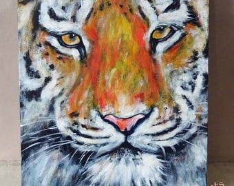 Cat painting Tiger Original Acrylic Painting on Canvas OOAK Art