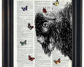 BOGO SALE Dictionary Prints Buffalo Dictionary Art Print Buffalo and Butterflies Print Dictionary Art Dictionary Print HHP Original