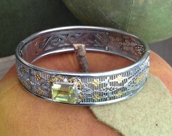 Art Deco Silver & Gold Filigree Bracelet with Citrine