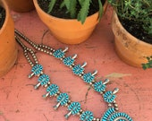 Vintage Turquoise Native American Squash Blossom Necklace