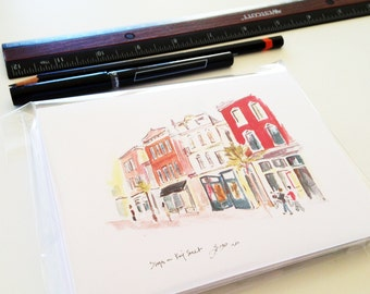 Charleston Watercolors, SC - set of 8 travel art and architecture notecards