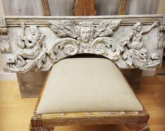 Vintage French carved oak pediment hand painted
