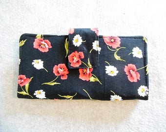 Fabric Wallet - Pansies and Daisies