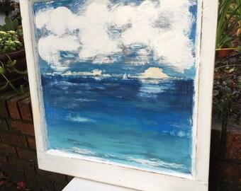 Original Sander Painting Southern Sun Beach House Art Wall Decor Door Painting by CastawaysHall  - READY TO SHIP