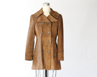 SALE // 1960s Brown Suede Peacoat // 60s Vintage Leather Jacket Shaped with Princess Seams // Small - Medium