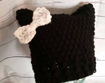 Kitty Hat-Cat hat, meow, hat, black cat, bow hat, fun, adult