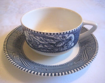 Vintage Currier & Ives Cup and Saucer; Sleigh ride design, By Royal China - Royal Ironstone, Blue Underglaze, Made in USA, 1 set