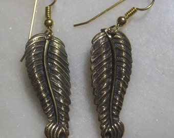 Vintage Leaf Earrings; Vintage 1980's Detailed Stamped Brass, Pierced Wire Hook, Old Stock, Unused, 30mm, One Pair