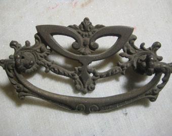 "Antique Drawer Pull, Victorian Cast Brass, Ornate Escutcheon Ornate Bail, Furniture Restoration/Replacement Hardware, 3 7/8 x 1 7/8"" 1 pc."