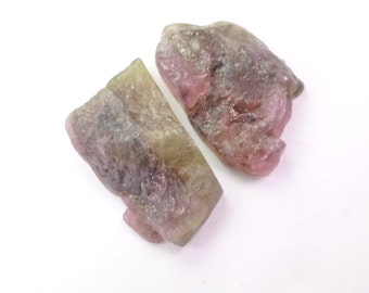 Bi Color Tourmaline Rough Top Cab.  Watermelon Tourmaline Cabochon.  Rough Top, Flat Back. Can BE dRiLLeD.  2 Pc  25x16mm +/-  36 cts TM2271
