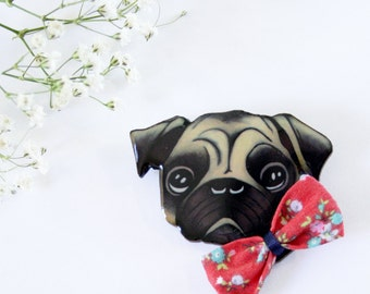 Pug Dog With Bow Wearable Art Pin by Winnifreds Daughter