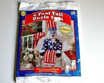 Uncle Sam Porch Greeter Stuffable Vintage Patriotic Decor 4th of July Decoration Porch Sitter NOS