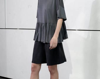 Gray oversize shirt, scoop neck, loose fit summer top, gray waist ruffle top, short sleeves, plus size, oversize top, frill top, party wear