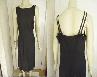 Simple Sleeveless Black Vintage 1950's Women's Hourglass Sheath Dress L XL