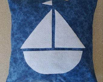 1 white blue sail boat beach sailor felt pillow cover sham Nautical cushions 18x18 pillow case ocean sailboat 18 x 18