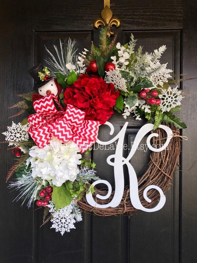 New Christmas Wreath For Front Door Monogram Wreaths Snowman Door Wreaths Christmas Wreath Seasonal Door Wreaths Snowman Etsy On Sale