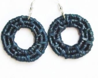 Woven Hoop Earrings -Blue Earrings -Raffia Earrings