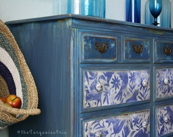 Folk Art Hand Painted Vintage Dresser with Otomi Print in Windsor Blue & Turquoise