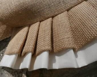 French Grain Sack Natural burlap Wedding  Custom Made Antique White and Burlap ruffles Dresser / Table Runner