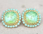 Turquoise Green Stud Earrings,Mint Swarovski Stud Earrings,Gift for Her,Crystal Stud Earrings,Apple Green Earrings,Bridesmaids Earrings