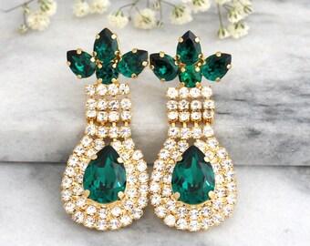 Emerald Earrings, Emerlad Chandelier Earrings, Swarovski Chandelier Earrings, Bridal Emerlad Earrings, Emerlad Drop Earrings,Bridal Earrings