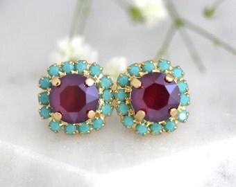 Garnet Earrings, Dark Red Earrings, Marsala Earrings, Gift for her, Swarovski Earrings, Ruby Earrings, Bridesmaids Earrings, Garnet Studs