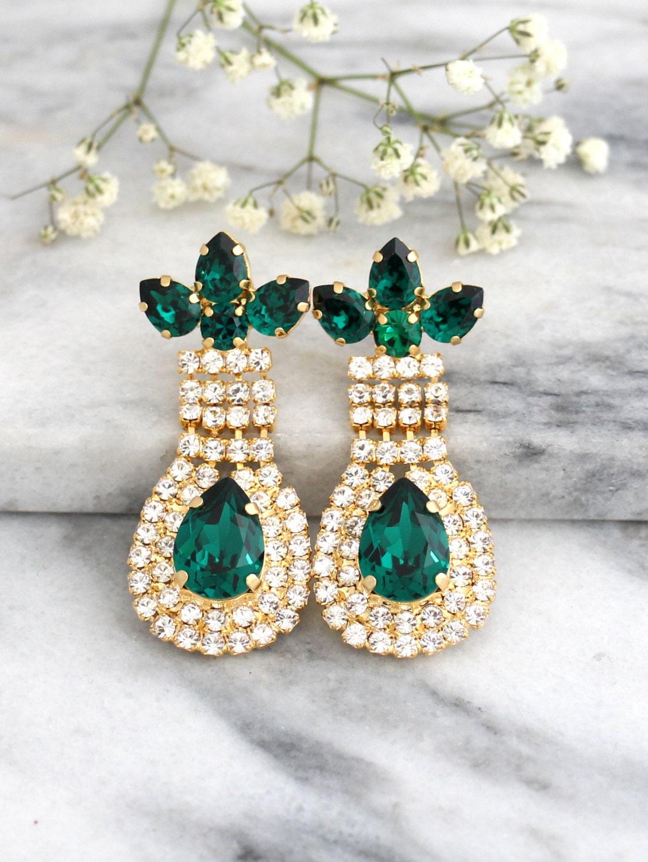 Emerald Earrings Emerald Chandelier Earrings Swarovski
