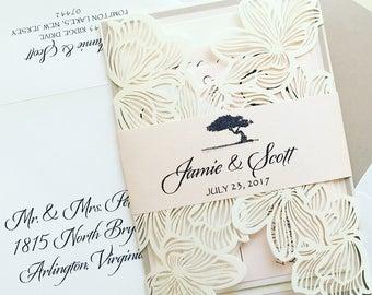 Blush Laser Cut Wedding Invitation - SAMPLE