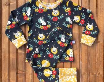 Newborn Baby Toddler jackaloupe organic pajama set