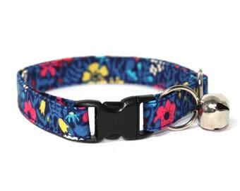 """Blue Floral Liberty Cat Collar - """"Richard"""""""