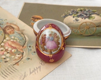 Vintage Porcelain Egg Box Limoges Easter Gift Ring Box Paris French Home Decor