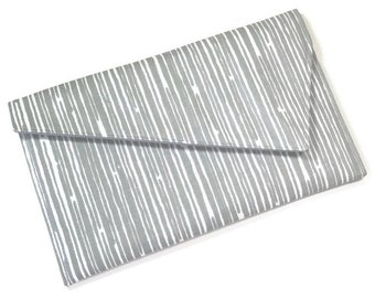 Envelope Fold Over Clutch Purse Bridesmaids Gift Wedding Clutch - Grey White Scribble Stripe