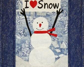 I Love Snow Wall Quilt, 4893-0, winter wall quilt, snowman wall quilt