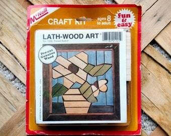 Vintage McNeil Lath-Wood Art Kit - Flower Basket Design No. 1245