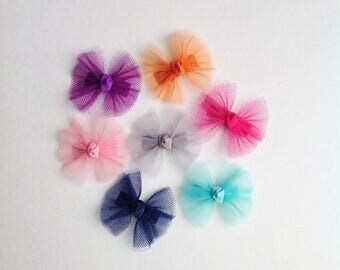 Pick 5 Your Colors - Baby Bows - Baby Hair Clips -  Baby Hair Bows - No Slip Grip Bows - Small Hair Clips - Tulle Hair Bows - Snap Clip Bows